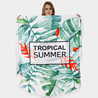 'Tropical Summer' Tassel Trim Round Beach Towel