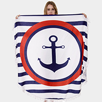 Anchor Tassel Trim Round Beach Towel