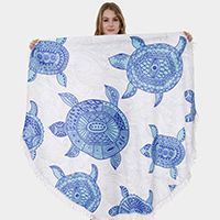 Turtle Tassel Trim Round Beach Towel
