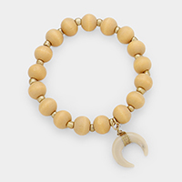Double Horn Metal Wood Ball Stretch Bracelet
