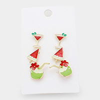 3Pairs - Enamel Fruit Cocktail Stud Earrings
