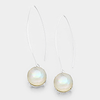 Round Mother of Pearl Long Fish Hook Earrings