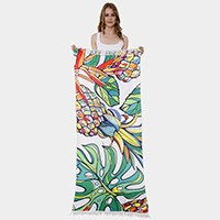 Pineapple Leaf Print Rectangle Beach Towel