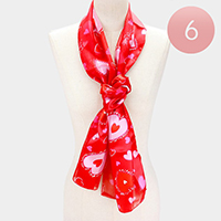 6PCS - Silk Feeling Heart Pattern Print Oblong Scarf