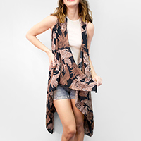 Tropical Leaf Scarf Vest