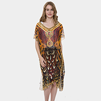 Mixed Feather Print Long Poncho