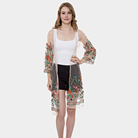 Floral Pattern Embroidery Kimono Cardigan