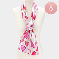 6PCS - Silk Feel Striped Heart Pattern Scarf