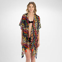 Multi Colored Leopard Cover Up Tassel Kimono Cardigan