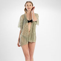 Metallic Stripes Cover Up Kimono Cardigan