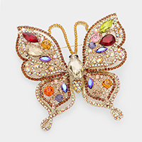 Crystal Rhinestone Pave Butterfly Brooch