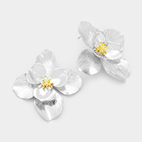 Metal Bloom Flower Post Earrings