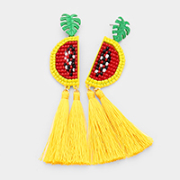 Beaded Metal Fruit Double Tassel Dangle Earrings