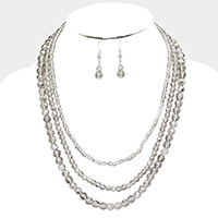 Triple Strand Glass Bead Necklace