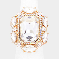 Emerald Cut Crystal Centered Stretch Ring