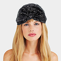 Sequin Knotted Turban Beanie Hat