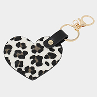 Leopard Faux Leather Heart Key Chain