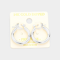 14K White Gold Dipped Hypoallergenic Hoop Pin Catch Earrings