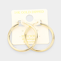 14K Gold Dipped Hypoallergenic Hoop Pin Catch Earrings
