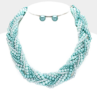 Braided Multi Strand Pearl Necklace