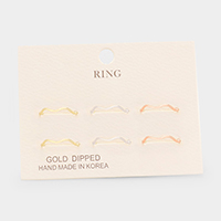6PCS - Gold Dipped Metal Rings