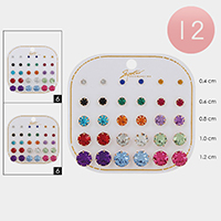 12 Set of 15 - Crystal Round Stud Earrings