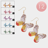 12Pairs - Butterfly Print Crystal Round Detailed Earrings