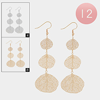 12Pairs - Triple Metal Filigree Leaf Earrings