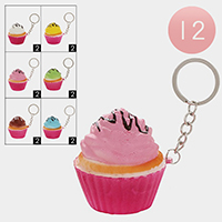12PCS - Soft Squishy Colorful Cup Cake Key Chains