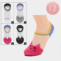 12Pairs - Transparent Assorted Cat Socks