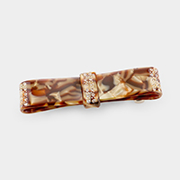 Crystal Embellished Celluloid Acetate Flat Bow Barrette
