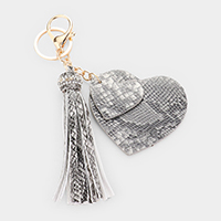 Double Heart Tassel Snake Leather Charm Key Chain