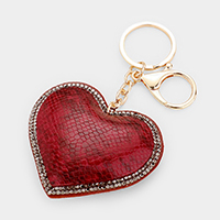 Crystal Pave Trim Snake Skin Leather Heart Key Chain