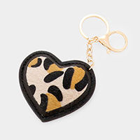 Heart Leopard Faux Leather Charm Key Chain