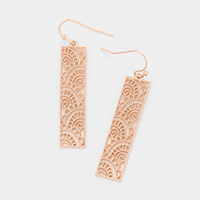 Rectangle Filigree Metal Dangle Earrings