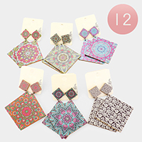 12Pairs - Patterned Square Wood  Dangle Earrings