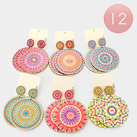 12Pairs - Patterned Round Wood  Dangle Earrings
