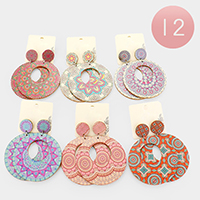 12Pairs - Patterned Cut Out Round Wood Dangle Earrings