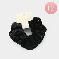 12 Set of 2 - Velvet Scrunchies Hair Bands