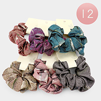 12PCS- Shimmery Patterned Scrunchies Hair Bands