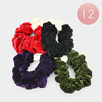 12PCS - Velvet Scrunchies Hair Bands