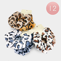 12 Set of 2 - Leopard Pattern Scrunchies Hair Bands