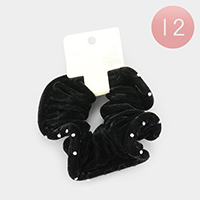 12PCS - Crystal Embellished Velvet Scrunchies Hair Bands