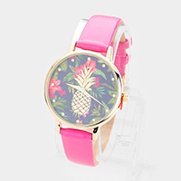 Pineapple Floral Print Round Dial Leather Strap Watch