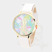 Pineapple Leaves Print Round Dial Leather Strap Watch