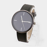 Round Dial Faux Leather Strap Watch