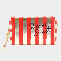'Queen's Secret' Striped Pouch Bag