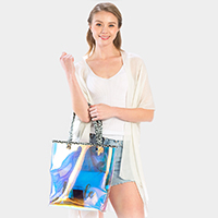 Hologram Leopard Trim Tote Bag