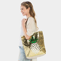 Pineapple Flip Sequin Tote Bag