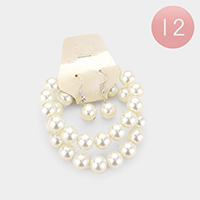 12 Set Of 2Pcs - Faux Pearl Bracelet and Earring Set